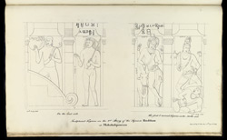 Four standing figures. 'Sculptured Figures on the 2nd Story of the Square Ruddam at Mahabalipooram. Copied by J. Mustie 5th April 1819.'